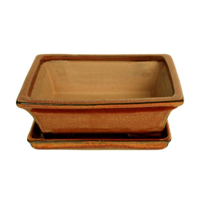 "6"" Copper Rectangle Ceramic Bonsai Pot"
