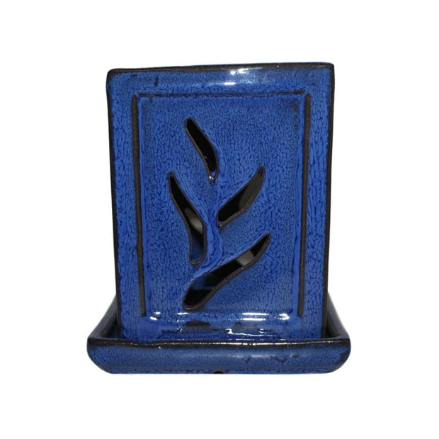"4"" x 6"" Midnight Blue Fluted Square Ceramic Orchid Pot"