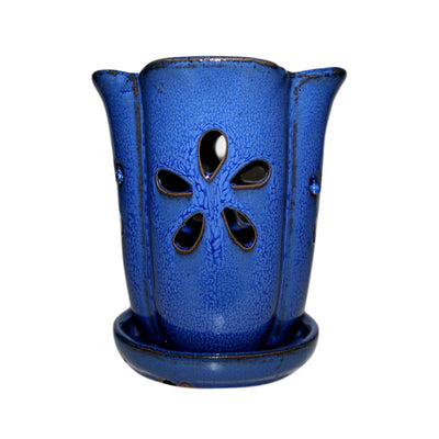 "4"" x 6"" Midnight Blue Fluted Round Ceramic Orchid Pot"