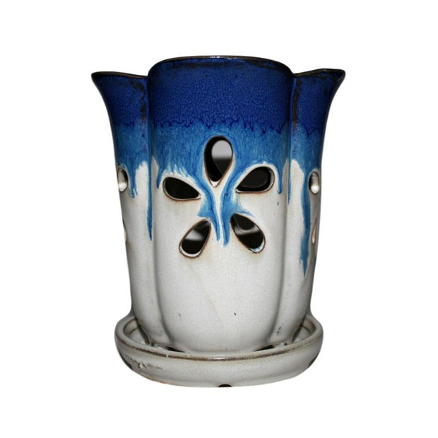"4"" x 6"" Cobalt Blue Over Cream Fluted Round Ceramic Orchid Pot"