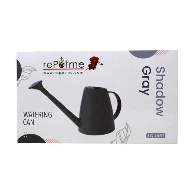 rePotme 1 Quart Plastic Watering Can with Rose - Shadow Gray