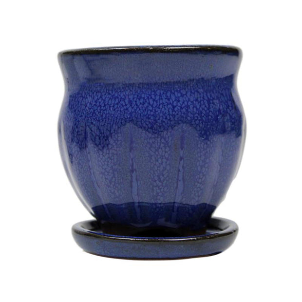 "3"" Midnight Blue Ceramic Succulent Pot - Amphora Vase"