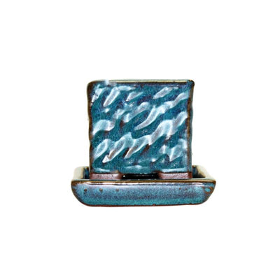 "2"" Teal Jade Ceramic Succulent Pot - Rugged Square"
