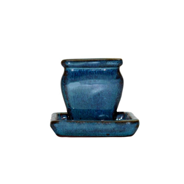 "2"" Teal Jade Ceramic Succulent Pot - Rounded Rectangle"