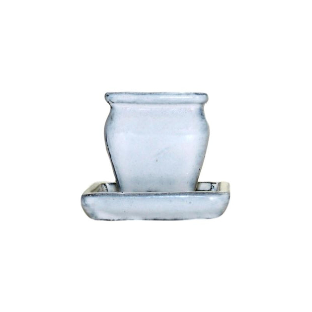 "2"" White Diamond Ceramic Succulent Pot - Rounded Rectangle"
