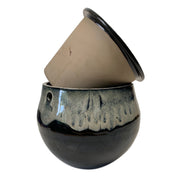 "10"" White Diamond Over Onyx Teardrop Self Watering Pot"