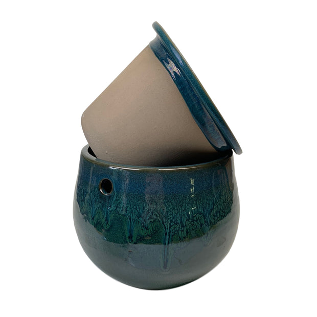 "8"" Teal Ocean Teardrop Self Watering Pot"