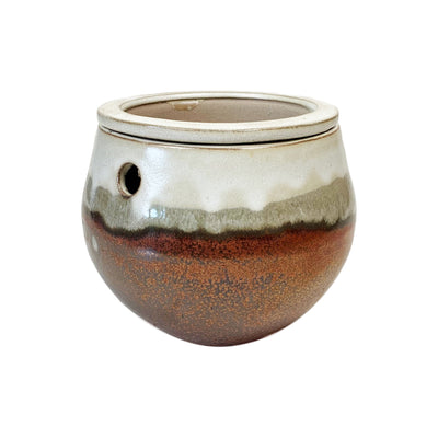 "8"" Honey Cream Over Copper Teardrop Self Watering Pot"