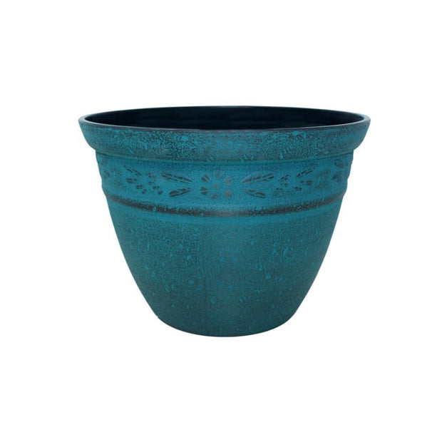"Stone Collection - 12"" Plastic Flower Pot - Misty Turquoise"