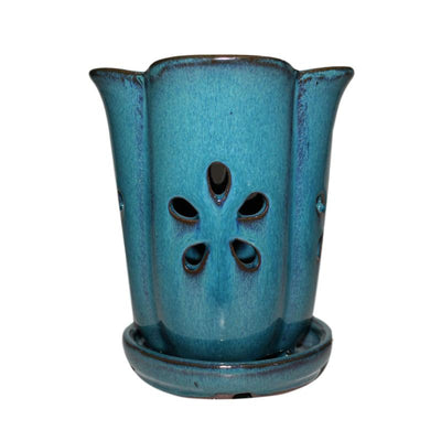 "4"" x 6"" Teal Jade Fluted Round Ceramic Orchid Pot"