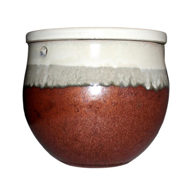 "12"" Honey Cream Over Copper Teardrop Self Watering Pot"
