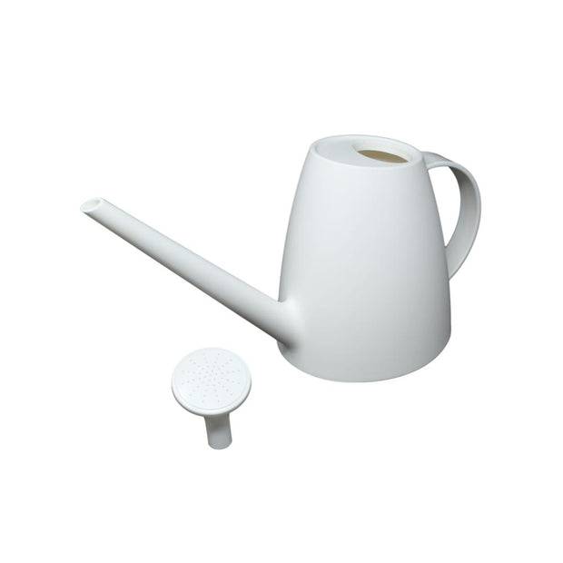 rePotme 1 Quart Plastic Watering Can with Rose - Pearl White