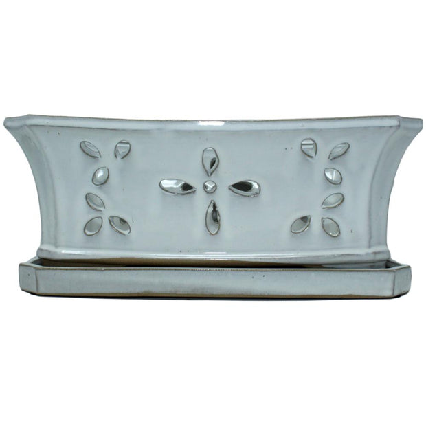"8"" x 13"" White Diamond Ceramic Window Box"