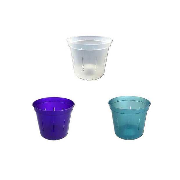 "3"" Slotted Orchid Pot - Sampler Pack 1 Each of Purple Amethyst, Blue Sapphire, and Crystal Clear"