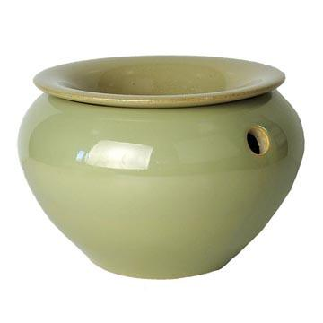 9 Honeydew Melon Round African Violet Pot - Ceramic
