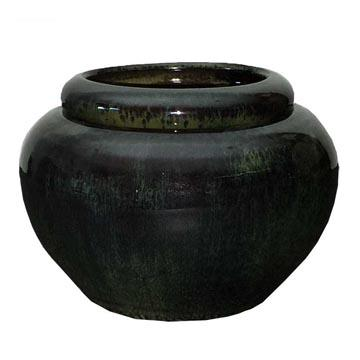 7 Rainforest Green Pearl African Violet Pot - Ceramic