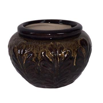 7 Honey Over Brown Leaf Accent African Violet Pot - Ceramic
