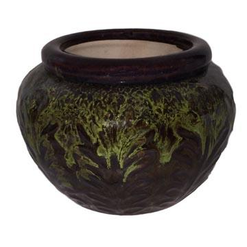 7 Moss Round Leaf Accent African Violet Pot - Ceramic