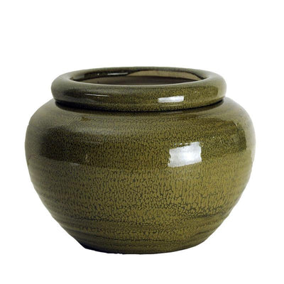 7 Moss Green Round African Violet Pot - Ceramic