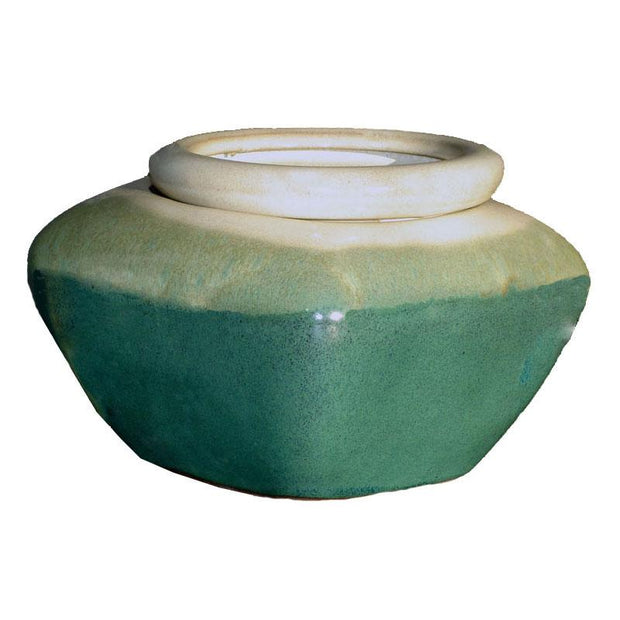 7 Creme Over Teal Square African Violet Pot - Ceramic