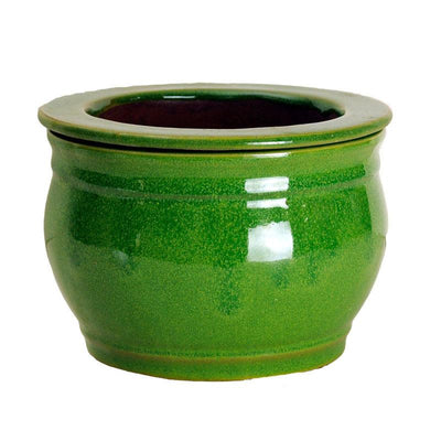 8 Tropical Green Round African Violet Pot - Ceramic