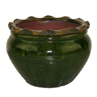9 Green Round Ruffle Top African Violet Pot - Ceramic