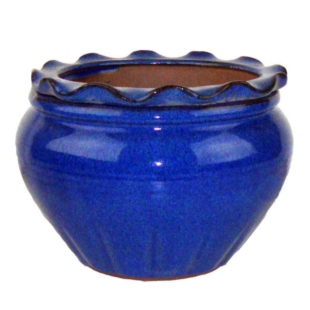 9 Blue Round Ruffle Top African Violet Pot - Ceramic