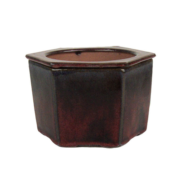 "6"" Parisian Red Hexagon Ceramic Self Watering Pot"
