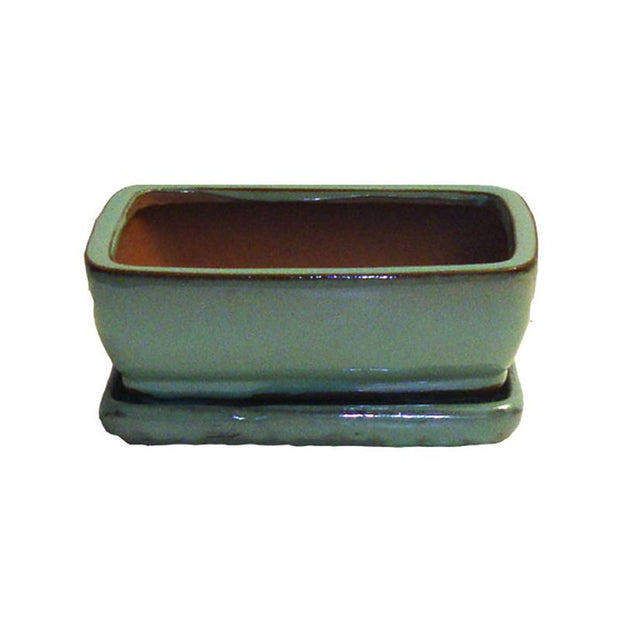 "6"" Aqua Rounded Rectangle Ceramic Bonsai Pot"