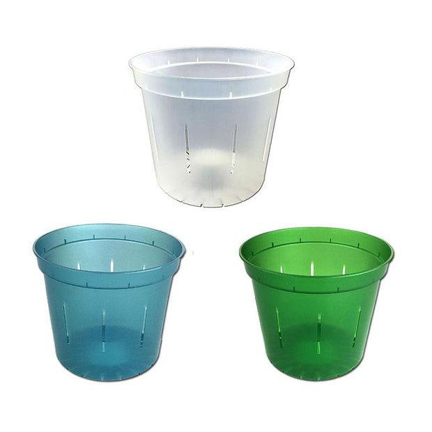 "4"" Slotted Orchid Pot - Sampler Pack 1 Each of Blue Sapphire, Green Emerald, and Crystal Clear"