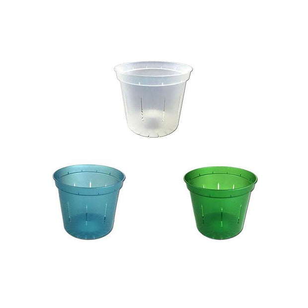 "3"" Slotted Orchid Pot - Sampler Pack 1 Each of Blue Sapphire, Green Emerald, and Crystal Clear"
