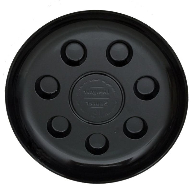 "10"" Heavy Duty Black Plastic Saucer - 16 Pack"