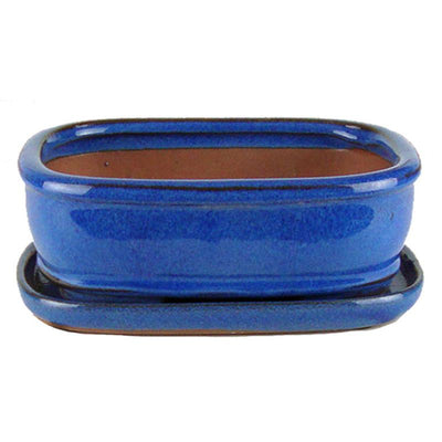"8"" Blue Rounded Rectangle Ceramic Bonsai Pot"