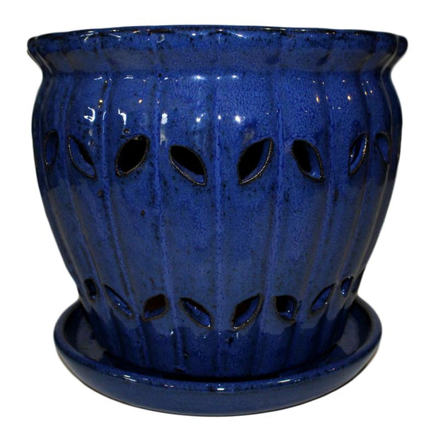 "10"" Midnight Blue Pinwheel Fluted Orchid Pot"