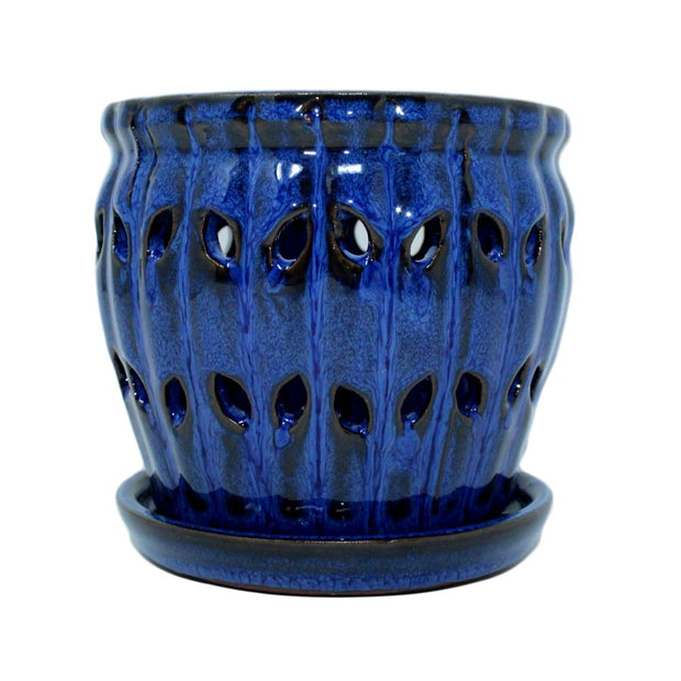 "5"" Midnight Blue Pinwheel Fluted Orchid Pot"