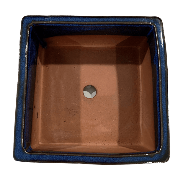 "5"" Midnight Blue Square Ceramic Succulent Pot With Decorative Bamboo Saucer"