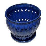 "6"" Midnight Blue Pinwheel Fluted Orchid Pot"