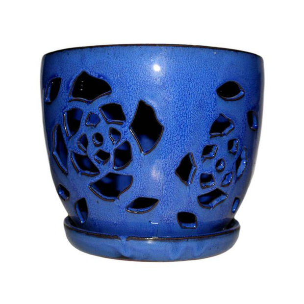 "6"" Midnight Blue Floral Cutout Orchid Pot"
