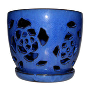 "8"" Midnight Blue Floral Cutout Orchid Pot"