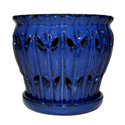 "8"" Midnight Blue Pinwheel Fluted Orchid Pot"