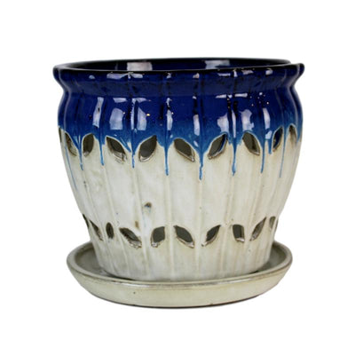 "6"" Cobalt Blue Over Cream Pinwheel Fluted Orchid Pot"