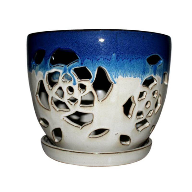 "6"" Cobalt Blue Over Cream Floral Cutout Orchid Pot"
