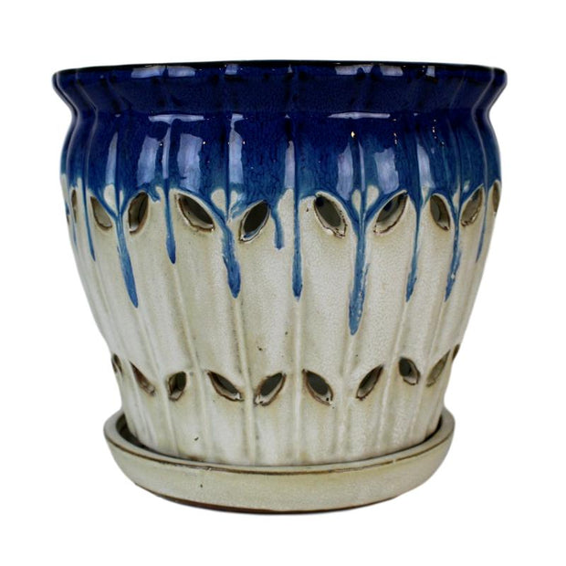 "8"" Cobalt Blue Over Cream Pinwheel Fluted Orchid Pot"