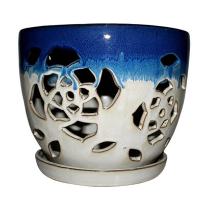 "8"" Cobalt Blue Over Cream Floral Cutout Orchid Pot"