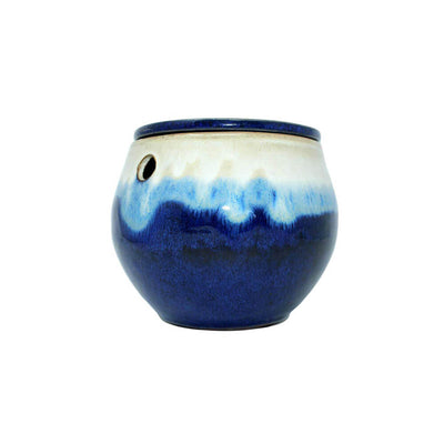 "6"" Sky Blue Over Cobalt Teardrop Self Watering Pot"