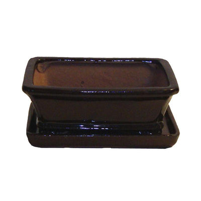 "6"" Chocolate Brown Rectangle Ceramic Bonsai Pot"