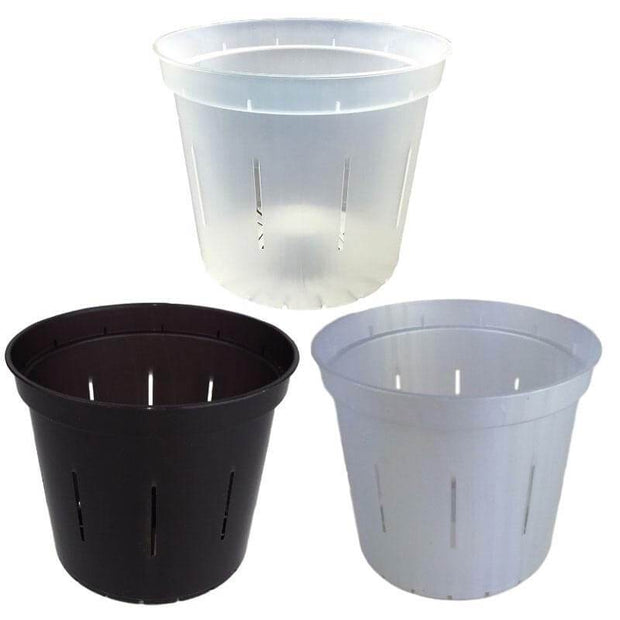 "6"" Slotted Orchid Pot - Sampler Pack 1 Each of Black Onyx, White Pearl, and Crystal Clear"