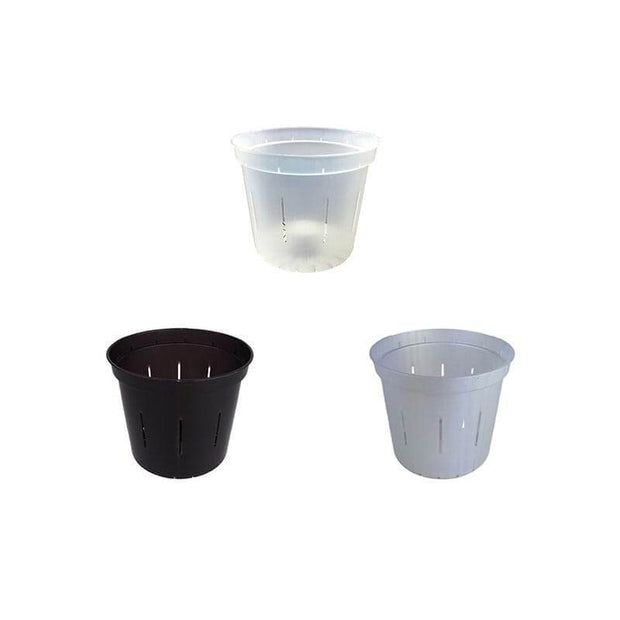 "3"" Slotted Orchid Pot - Sampler Pack 1 Each of Black Onyx, White Pearl, and Crystal Clear"