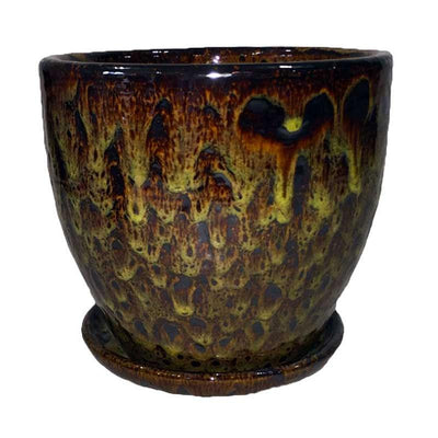 "11.5"" Molten Yellow Ceramic Volcano Pot and Detached Drip Tray"