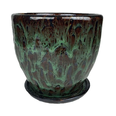 "11.5"" Jadeite Green Ceramic Volcano Pot and Detached Drip Tray"
